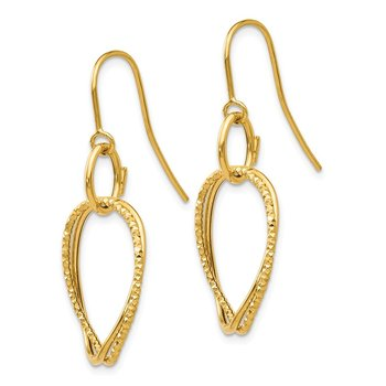 Leslie's 14K Polished and Textured Shepherd Hook Earrings