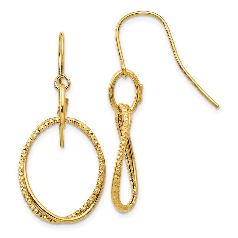 Leslie's Leslie's 14K Polished and Textured Shepherd Hook Earrings