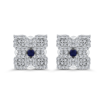 Round Cut Diamond & Sapphire Stud Earrings