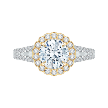 18K Two-Tone Gold Round Diamond Halo Engagement Ring with Split Shank (Semi-Mount)
