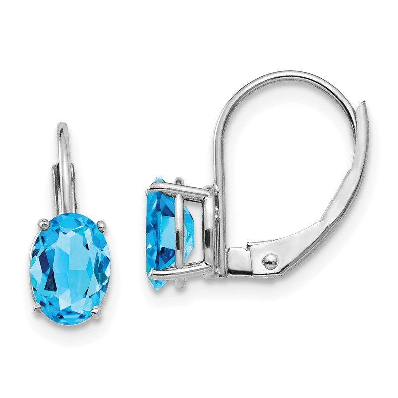 Quality Gold 14k White Gold 7x5mm Oval Blue Topaz Leverback Earrings