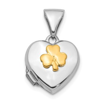 14K Two-tone 10mm Clover Heart Locket Pendant
