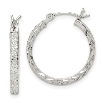 Sterling Silver Textured 2mm Diamond Cut Hoop Earrings
