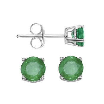 Four Prong Emerald Studs in 14K White Gold (4.5 MM)