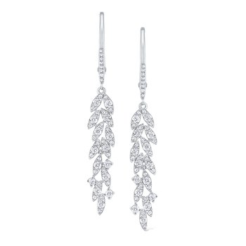 Diamond Leaf Drop Earrings Set in 14 Kt. Gold