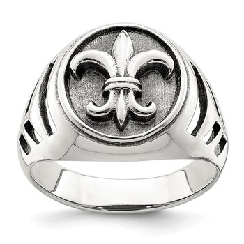 Sterling Silver Antiqued Fleur de lis Ring