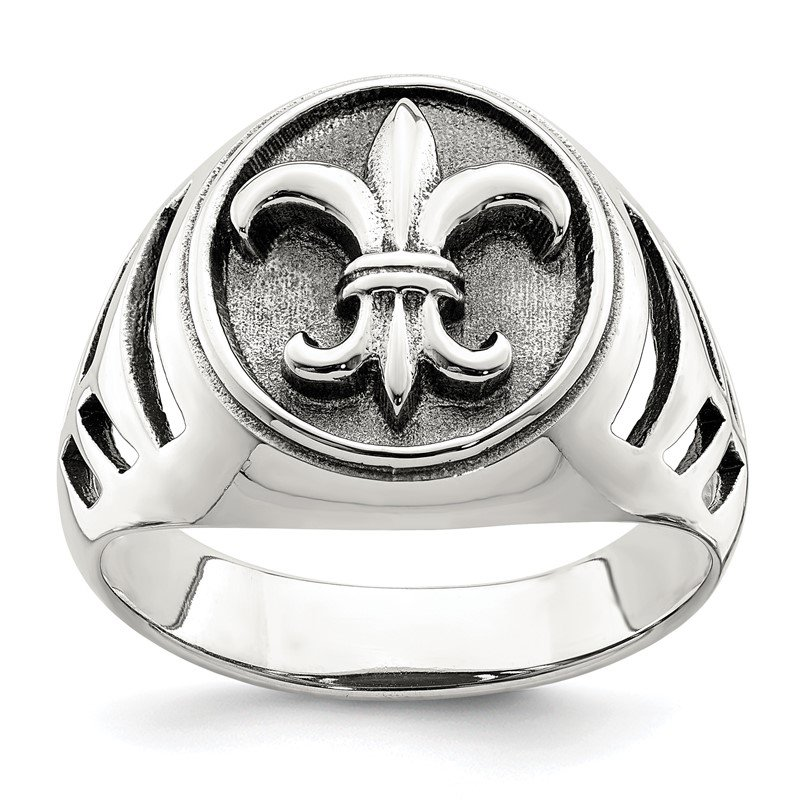 Quality Gold Sterling Silver Antiqued Fleur de lis Ring