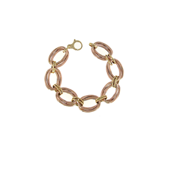 18KT ROSE AND YELLOW GOLD OVAL LINK BRACELET