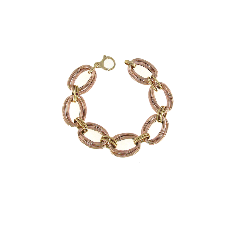 Roberto Coin 18Kt Rose And Yellow Gold Oval Link Bracelet