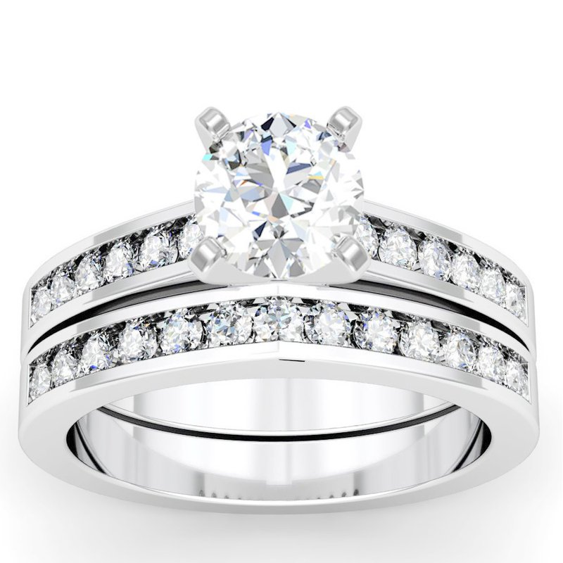California Coast Designs Channel Set Round Cut Diamond Engagement Ring with Matching Band