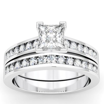 Channel Set Round Cut Diamond Engagement Ring with Matching Band