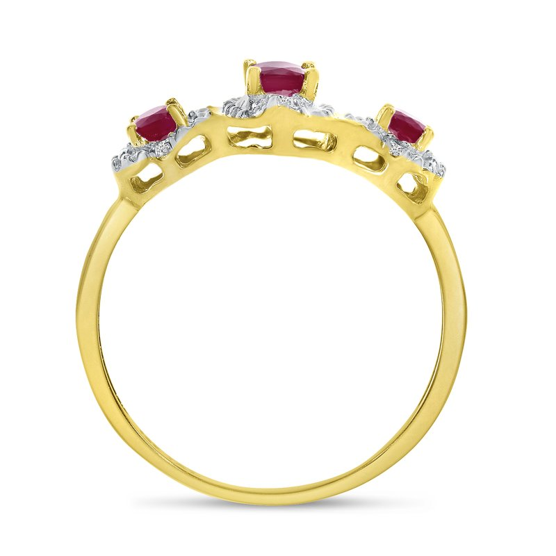 Color Merchants 14k Yellow Gold Oval Rhodolite Garnet And Diamond Three Stone Ring