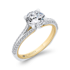 Carizza 14K Two-Tone Gold Round Diamond Engagement Ring with Split Side Euro Shank (Semi-Mount)