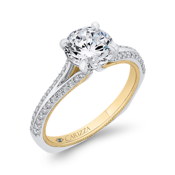 14K Two-Tone Gold Round Diamond Engagement Ring with Split Side Euro Shank (Semi-Mount)