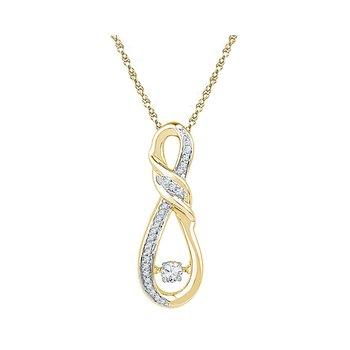 10kt Yellow Gold Womens Round Diamond Moving Twinkle Solitaire Infinity Pendant 1/6 Cttw