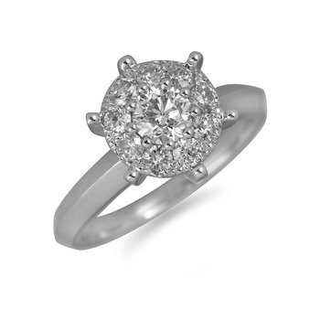 14K WG Diamond Cluster Ring 3 Ct Look