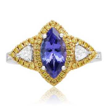 Tri-Colored Tanzanite & Diamond Ring