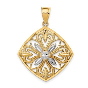 14k w/Rhodium Diamond-cut Polished Fancy Square Charm