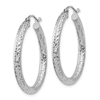 Sterling Silver Rhodium-plated D/C 3x30mm Hoop Earrings