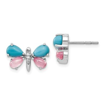 14k White Gold Diamond/Turquoise/Rose Quartz Butterfly Earrings
