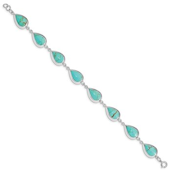 Sterling Silver Rhodium-plated Teardrop Synthetic Turquoise Bracelet