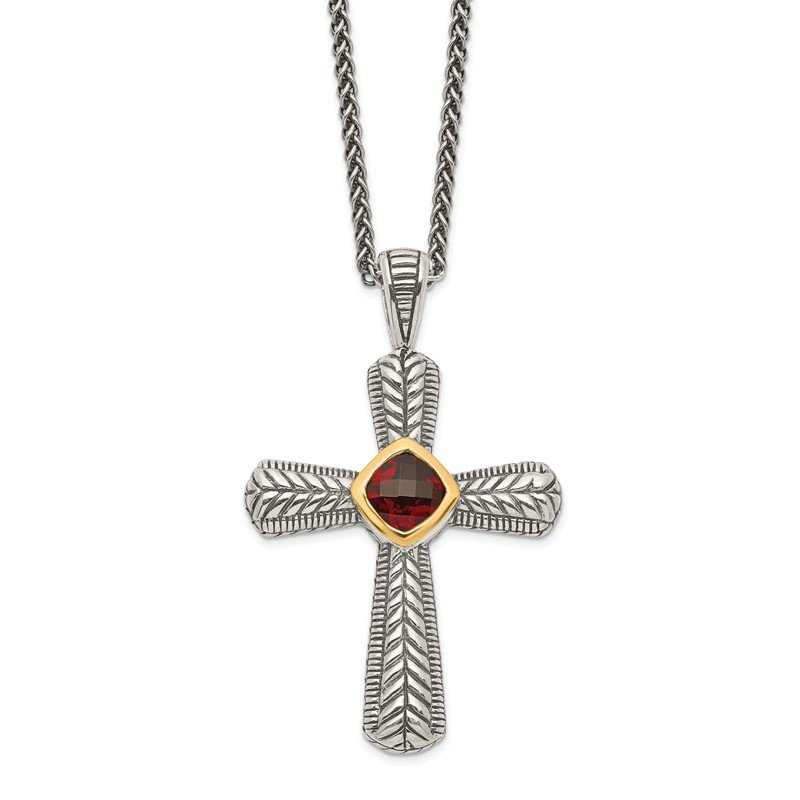 Quality Gold Sterling Silver w/14k Garnet Cross Necklace