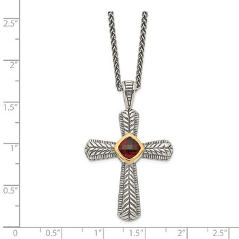 Sterling Silver w/14k Garnet Cross Necklace