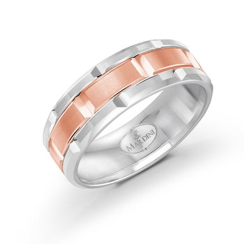 8mm two-tone white and rose gold brick motif band