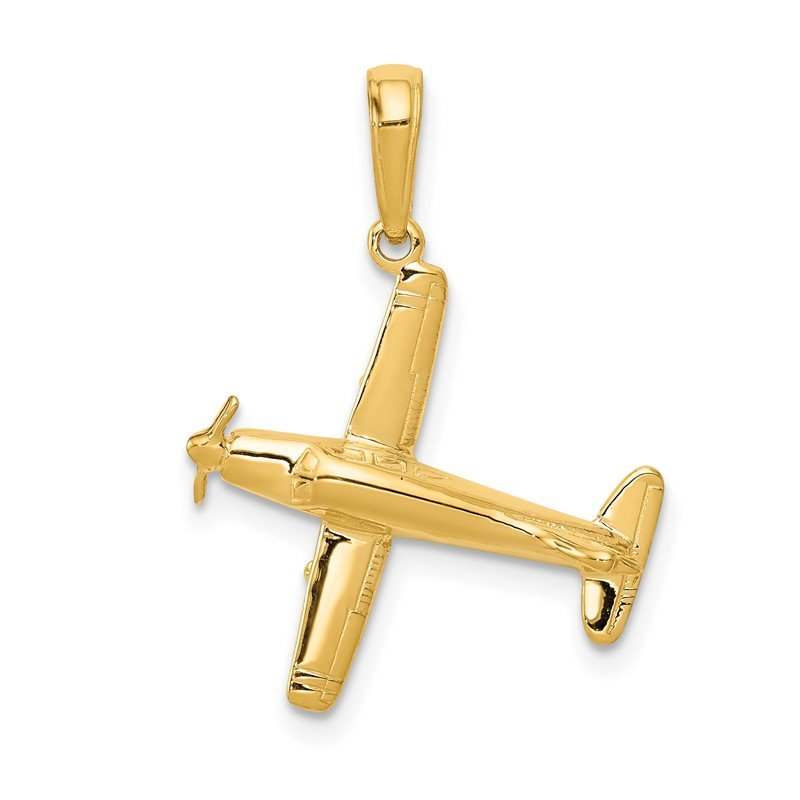 Quality Gold 14k 3-D Low-Wing Airplane Pendant