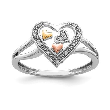 Sterling Silver Rhodium & 14K Yellow & Rose Gold plated Diam. Heart Ring