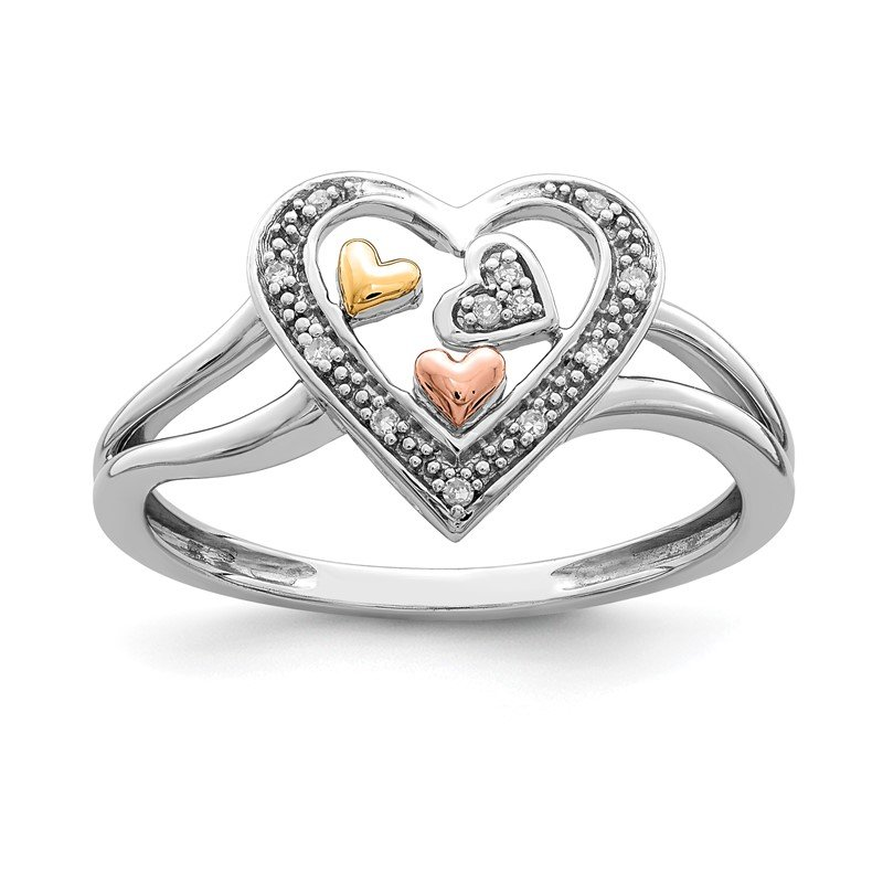 Quality Gold Sterling Silver Rhodium & 14K Yellow & Rose Gold plated Diam. Heart Ring