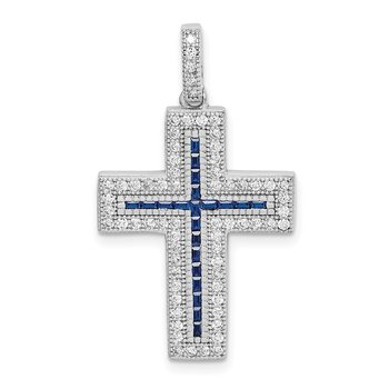 Sterling Silver Rhodium-plated CZ & Synthetic Blue Spinel Cross Pendant