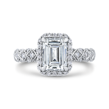 Emerald Cut Diamond Halo Engagement Ring In 18K White Gold (Semi-Mount)