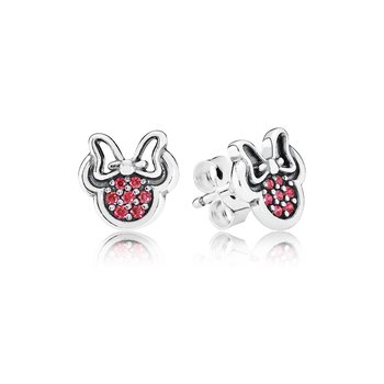 Disney, Sparkling Minnie Stud Earrings, Red Cz