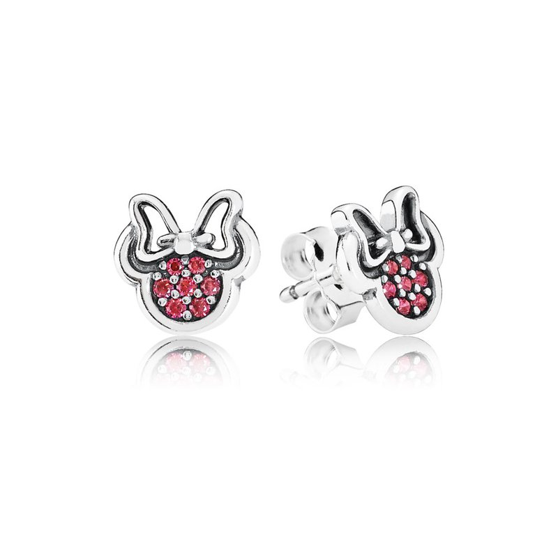 PANDORA Disney, Sparkling Minnie Stud Earrings, Red CZ