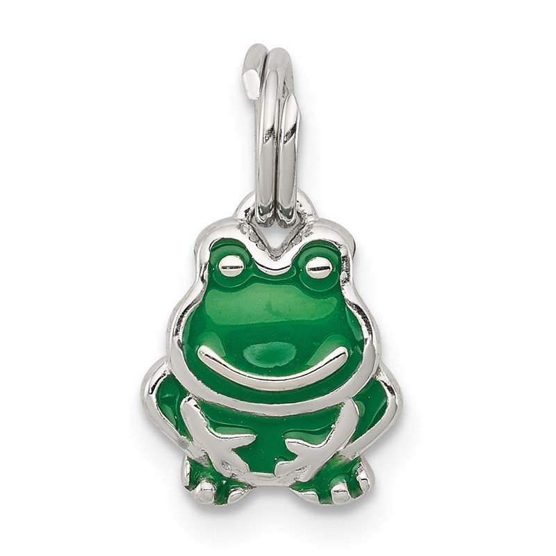Quality Gold Sterling Silver Green Enameled Frog Charm