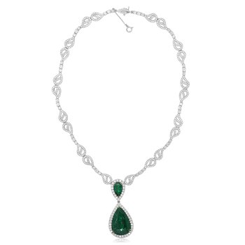 Double Pear Emerald & Diamond Necklace
