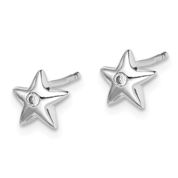 Sterling Silver Rhodium Diam. Star Earrings