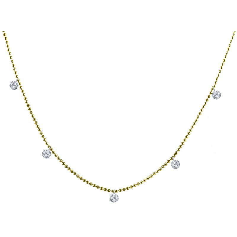 "Color Merchants 14K Yellow Gold .50 Five-Stone Diamond Necklace with 20"" Chain"