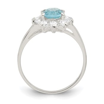 Sterling Silver Light Blue Oval CZ Cluster Ring