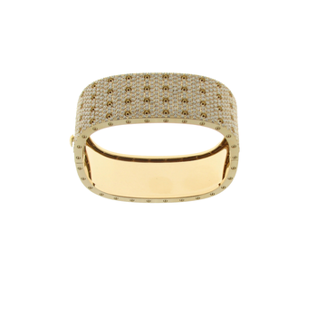 18KT GOLD 4 ROW PAVE DIAMOND BANGLE