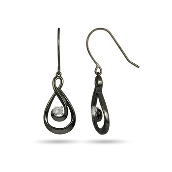 925 SS Diamond Dangling Earring with Black Rhodium