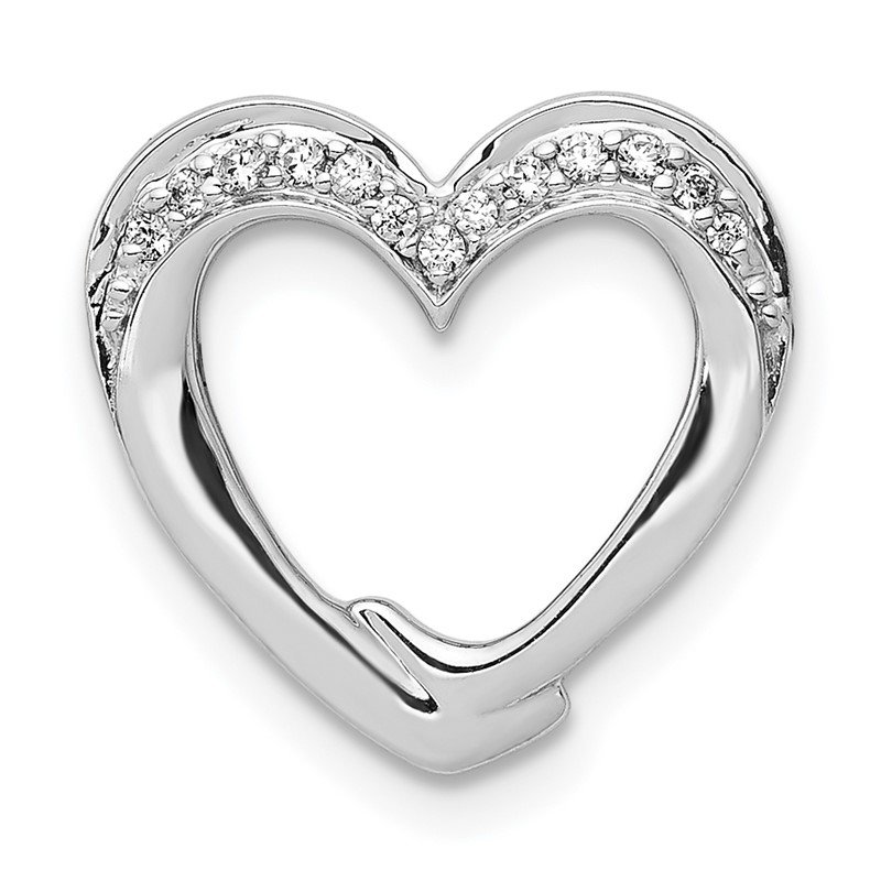 Quality Gold 14k White Gold 1/15ct. Diamond Heart Chain Slide