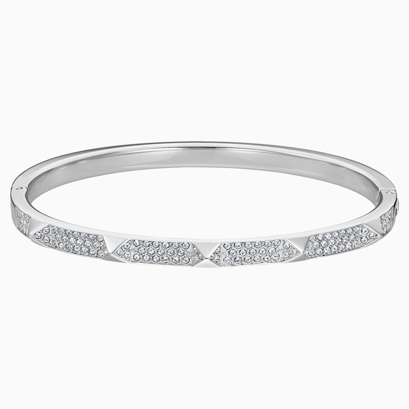 Swarovski Tactic Bangle, White, Stainless steel