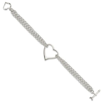 Sterling Silver Polished Multi Strand Heart Bracelet