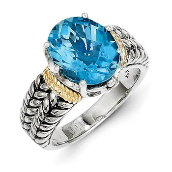 Sterling Silver w/14k Swiss Blue Topaz Ring