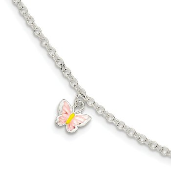 Sterling Silver Childrens Enameled Butterfly 5.5in Plus 1.5in ext. Bracelet