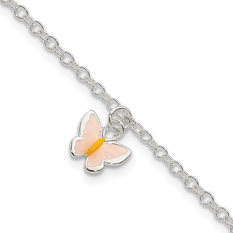 Quality Gold Sterling Silver Childrens Enameled Butterfly 5.5in Plus 1.5in ext. Bracelet