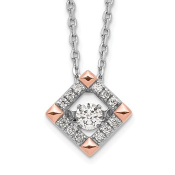 Sterling Silver RH-plated Rose-tone Moving CZ w/2in ext Necklace