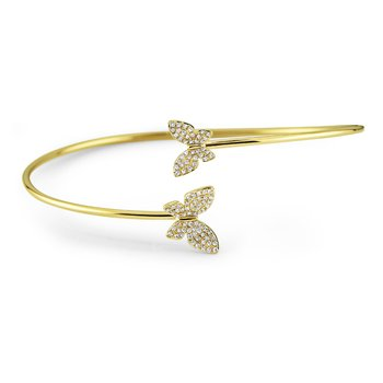 14K Diamond Double Butterfly Bangle